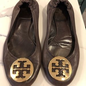 Size 10 brown reva ballet flats by Tory Burch